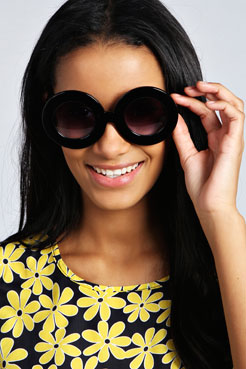 Katie Oversized Round Deep Rim Sunglasses at boohoo.com