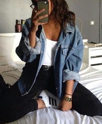 jacket blue jeans blue jean jacket jeans top high waisted jeans black jeans grunge jean jacket adidas shoes