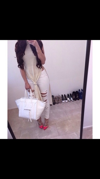 top long cute sexy stylish style fashion double slit slit top jeans shoes bag