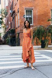 dress,tumblr,sleeveless,sleeveless dress,orange,orange dress,gingham,gingham dresses,asymmetrical,wrap dress,ruffle,sandals,flat sandals,metallic shoes,shoes