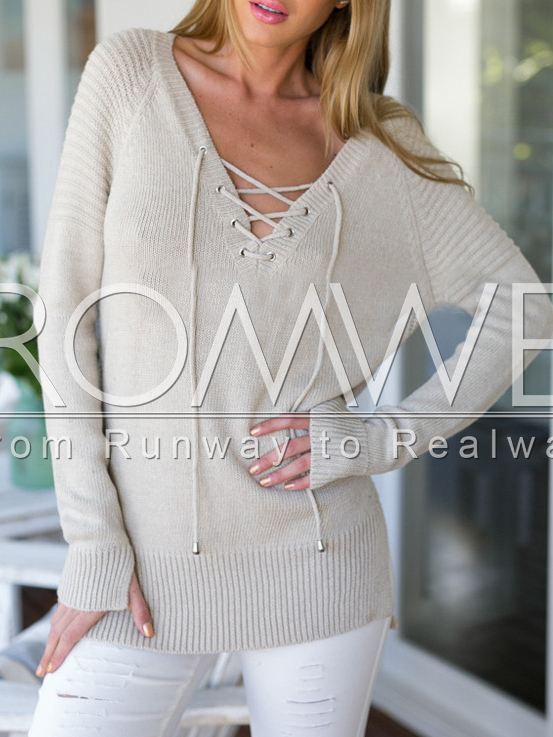 3f85db66039 Beige Long Sleeve Lace Up Sweater