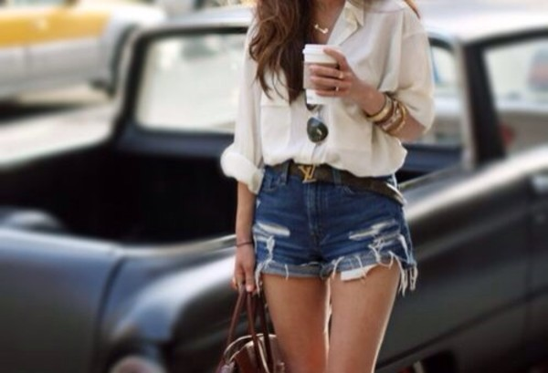 blouse white blouse blouse belt shorts
