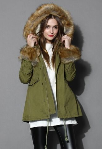 www.ustrendy.com olive green parka olive green coat winter coat detachable hood detachable fur trim faux fur trim