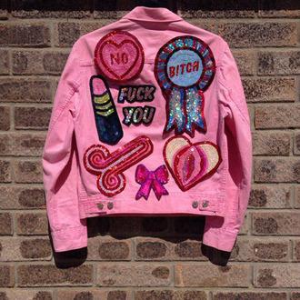 jacket pink jacket lipstick dope