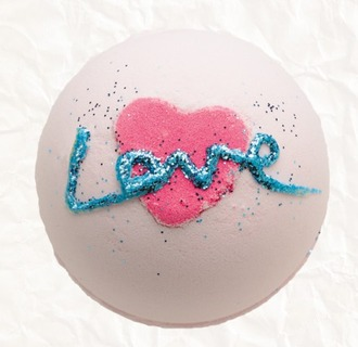 make-up cosmetics love quote on it valentines day gift idea heart glitter bath bomb body care
