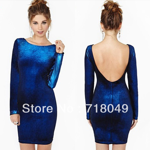 Free Shipping Fashion Backless Tube Long Sleeve O neck Velvet Dress Blue XS/S/M/L/XL/2XL-inDresses from Apparel & Accessories on Aliexpress.com