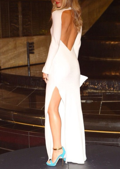 dress backless white maxidress shoes