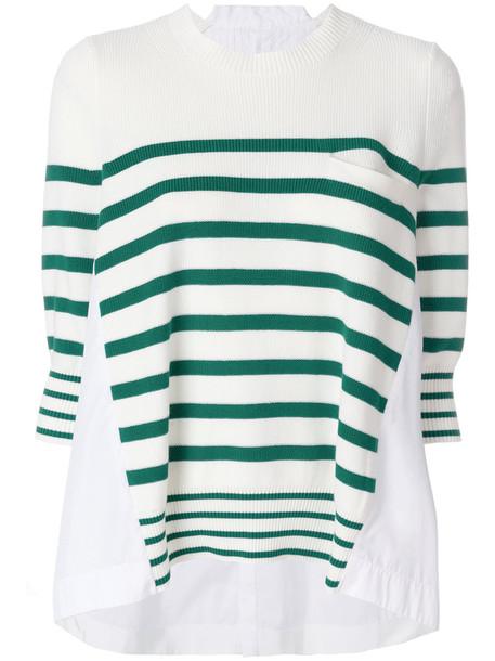 Sacai sweater oversized women white cotton