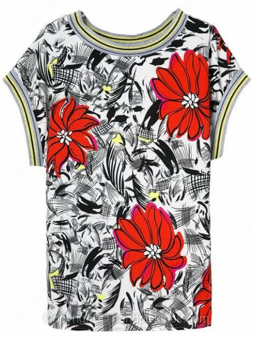 Grey Round Neck Short Sleeve Floral Print Side Split T-Shirt - HandpickLook.com