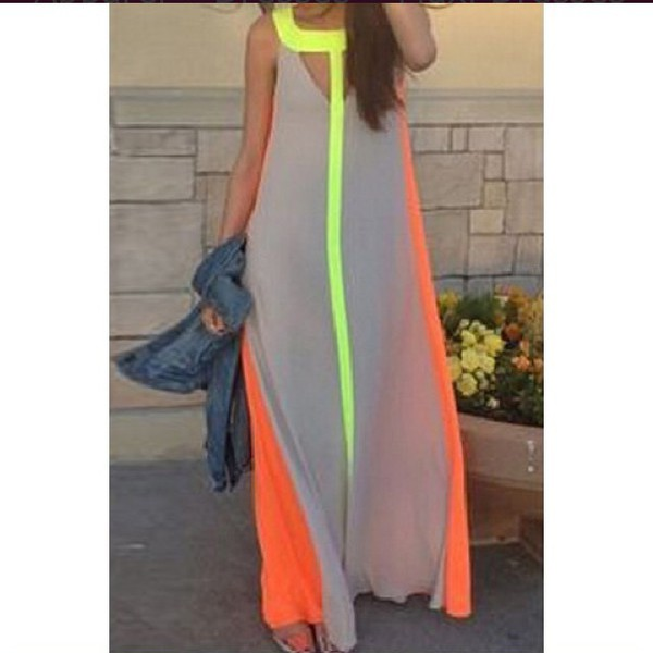 Wholesale Color Block Hollow Out Fashionable Scoop Neck Sleeveless Maxi Dress For Women (GRAYXL) Maxi Dresses - Rosewholesale.com  sc 1 st  Wheretoget & Wholesale Color Block Hollow Out Fashionable Scoop Neck Sleeveless ...
