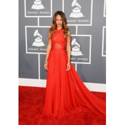 Rihanna Red Celebrity Evening Formal Prom Dress 2013 Grammy Award Red Carpet