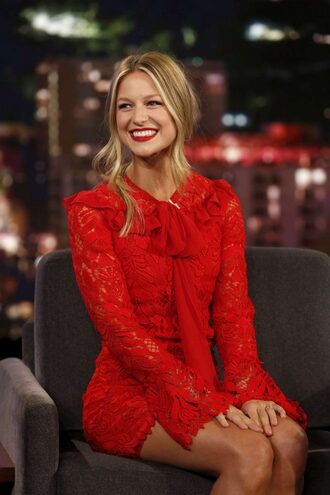 dress red dress red melissa benoist mini dress long sleeve dress lace dress