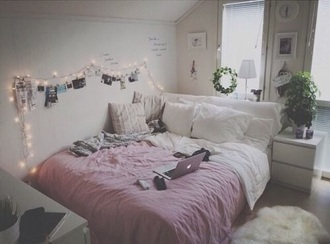 home accessory white pink duvet tumblr bedroom