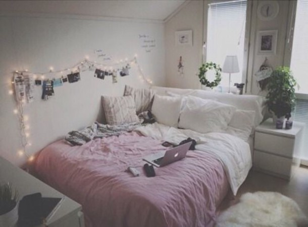 Home accessory white pink duvet tumblr bedroom - Deco chambre jeune fille ...