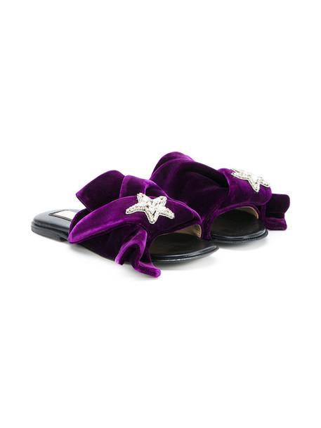 No21 Kids embellished sandals embellished sandals leather velvet purple pink shoes