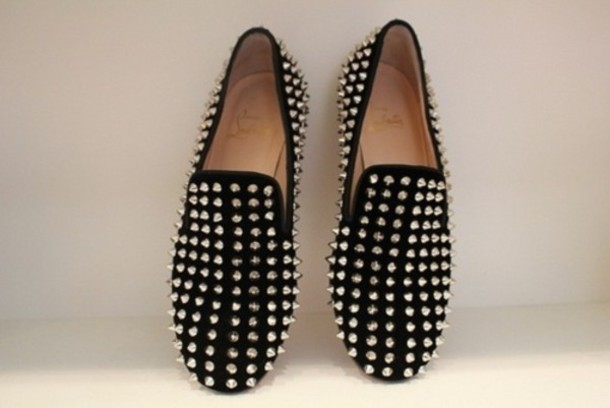 knock off red bottom shoes for women - LADIES WOMEN BLACK GREEN RED LOAFERS SHOES FLAT SPIKE PUNK STUDDED ...