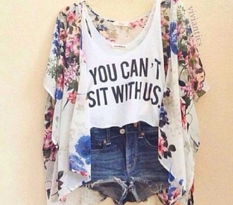 blouse mean girls shirt cardigan flowers mean girls top floral kimono