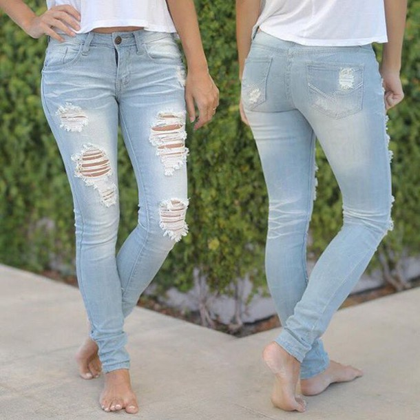 Jeans: skinny jeans, super destroyed jeans, cute jeans, ripped ...