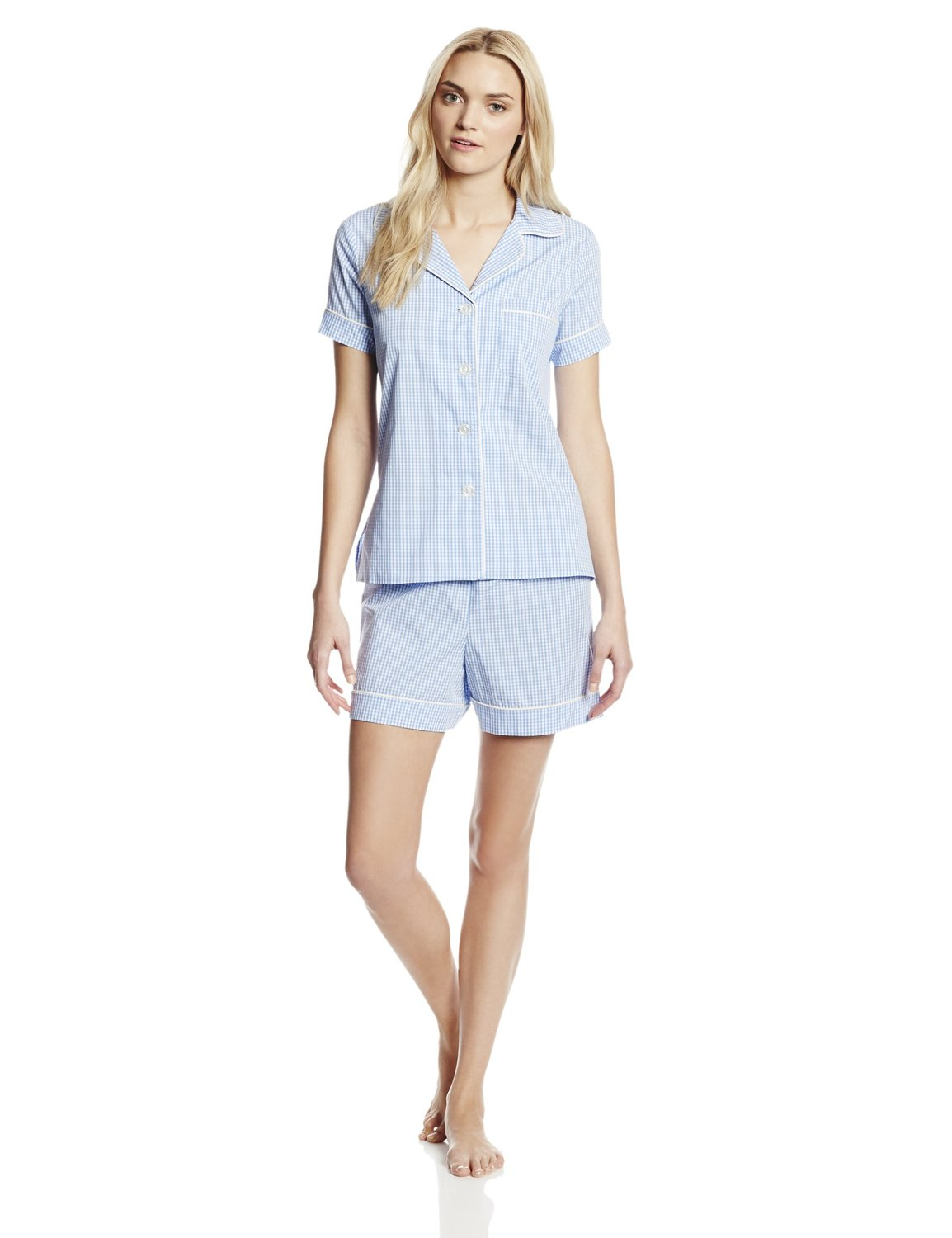 BedHead Pajamas Women's Classic Gingham Blue at Amazon Women's Clothing store: