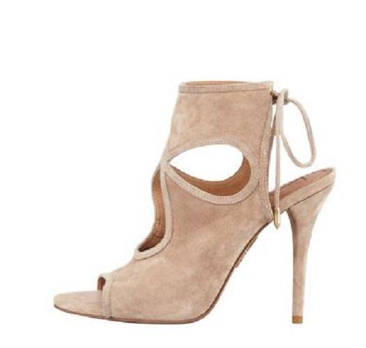 Azara suede cutout sandal, nude
