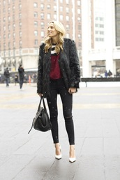 mind body swag,blogger,black ripped jeans,faux fur jacket,burgundy sweater,sweater,jeans,shoes,coat,bag,sunglasses,black fur jacket,black fur coat