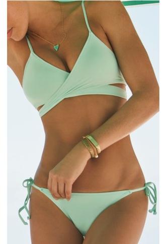 swimwear mint bikini top bikini tropical swimwear blue swimwear green swimwear cute pretty