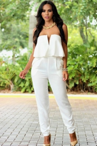 jumpsuit ruffle white romper wots-hot-right-now white jumpsuit deep v sexy jumpsuit