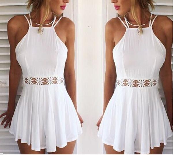 Fashion straps hollow lace dress