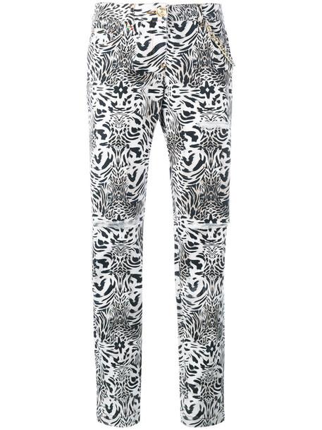 PHILIPP PLEIN jeans women spandex nude cotton print leopard print