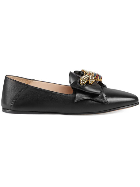 gucci bow ballet women leather black shoes