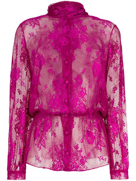 Balenciaga - Lavalliere dentelle lace blouse - women - Polyamide/Spandex/Elastane - 42, Pink/Purple, Polyamide/Spandex/Elastane
