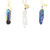 Set of Three Crystal and Druzy Pendant Necklaces