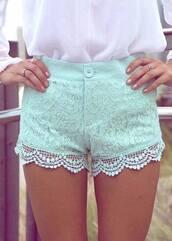 shorts,mint,lace