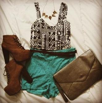 shorts clutch aztec top crop tops blue shorts blue brown belt brown heels gold spike necklace summer cute light blue shirt tank top t-shirt shoes