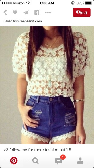shorts style high waisted shorts lace top lace shorts top