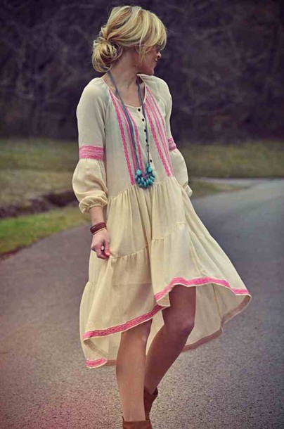 f1a9eaac7ec41 dress free people cream pink embroidered embroidered turquoise long  necklace hi low dresses summer dress boho