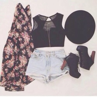 top coachella hat flowers shoes tank top