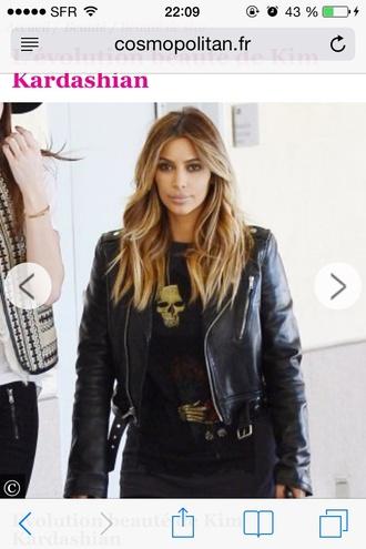 jacket kim kardashian black t-shirt