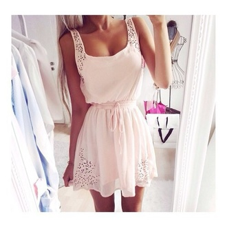 light pink summer dress romantic summer dress pink dress chiffon dress spring dress white dress pastel pink baby pink mini dress dress pink holes cute cute dress fashion style beautiful pale pink / white draw string floaty chiffon dress