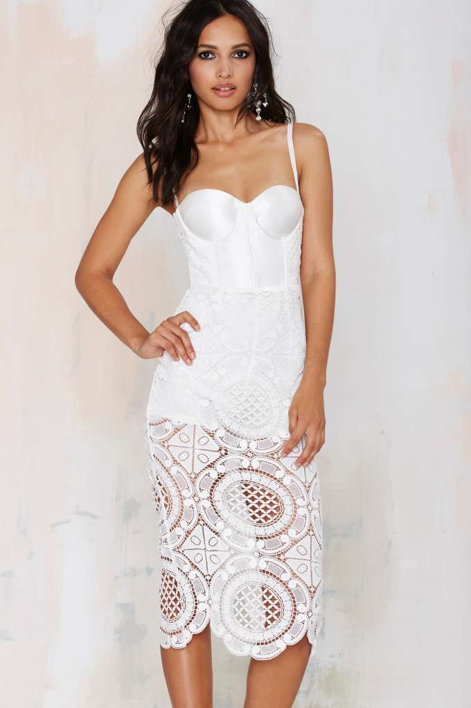 Misha Collection Flora Crochet Dress - White