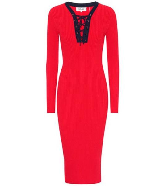 Diane von Furstenberg Jersey midi dress in red