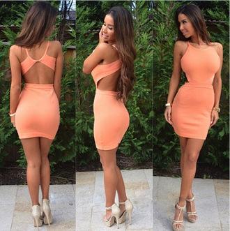dress peach dress sexy dress beautiful oh dear god please