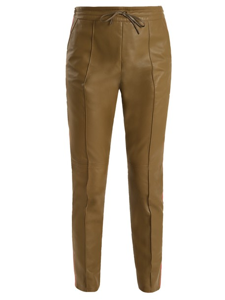 Joseph leather khaki pants