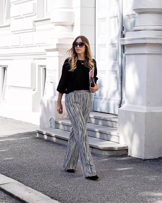 pants tumblr wide-leg pants stripes striped pants sweater black sweater sunglasses