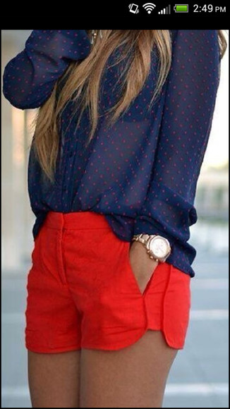 shorts red shorts shirt polk a dot navy blue shirt red polka dots