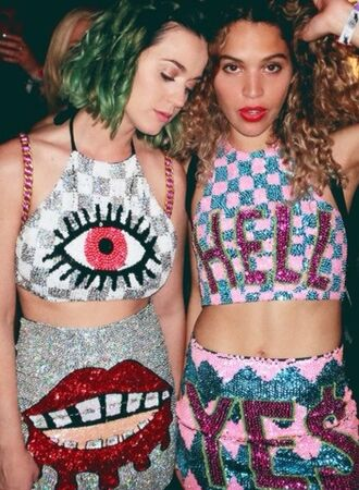 katy perry crop tops tank top colorfull vintage mini skirt neon glitter print fashion style