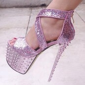 shoes,pink,glitter,spiky,funny,pink chrome,baby pink,strappy heels,platform heels,sandals,spring,summer,peep toe heels,stilettos,high heels