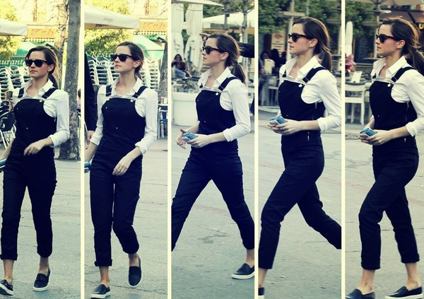 pants emma watson black jumpsuit shirt white celebrity style shoes
