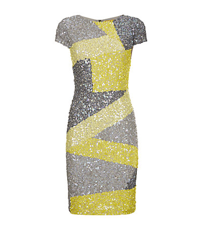 Alice   Olivia Taryn Colour Block Sequin Dress| Harrods
