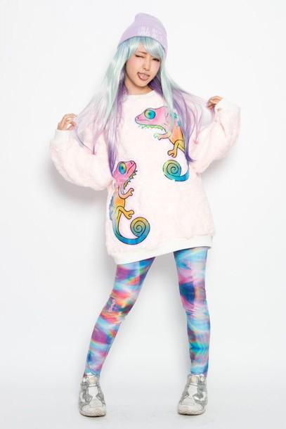 leggings kawaii dope pastel rainbow sweater pants